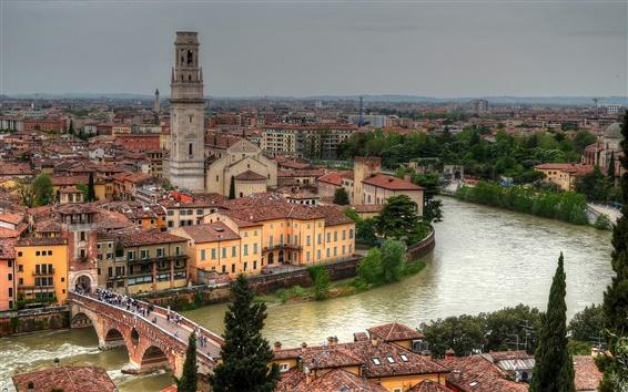 Wallpaper Verona, Italy, Adige River, Ponte Pietra Bridge, buildings