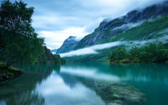 Fond d'écran Ouest de la Norvège, la surface du lac Loen, montagnes scandinaves, arbres, brouillard