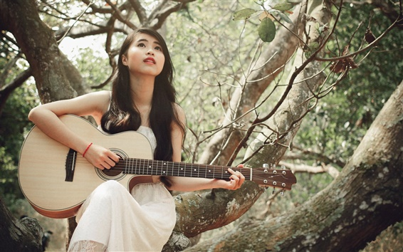 Fond d'écran Robe blanche fille, asiatique, guitare