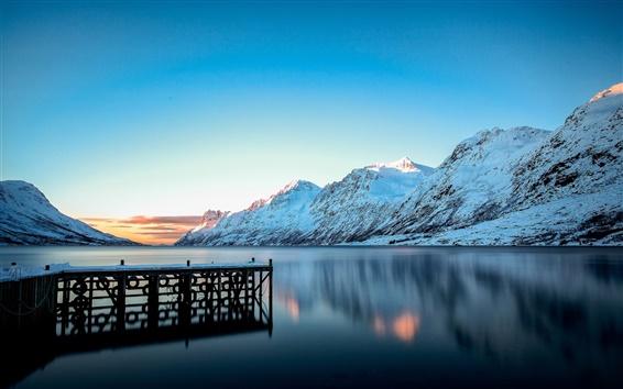 Wallpaper Winter landscape, mountains, snow, lake, pier