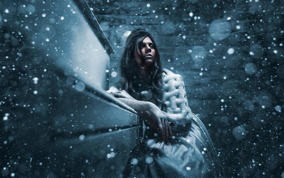 Wallpaper Winter, snow, girl, cold