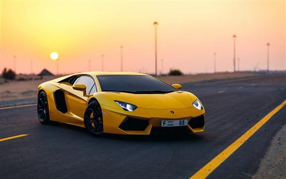 Wallpaper Yellow Lamborghini Aventador supercar at dusk