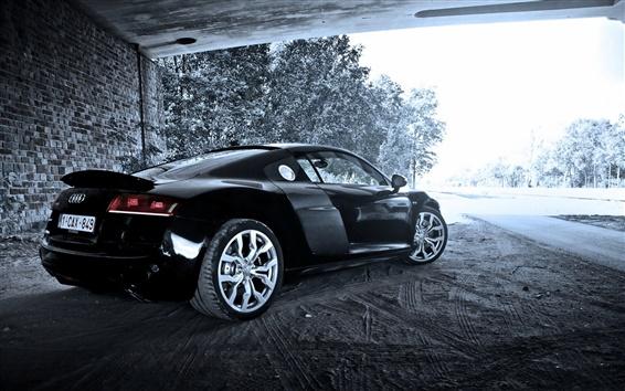 Обои Audi R8 V10 черный автомобиль