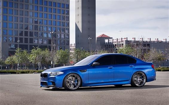 Обои BMW M5 F10 синий автомобиль, здания