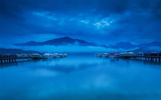 Papéis de Parede Bay, marina, barcos, nuvens, nevoeiro, noite, azul