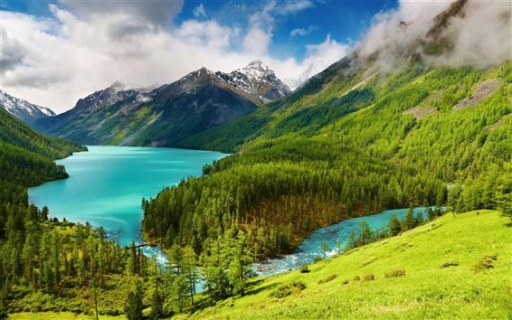 Fond d'écran Belle paysage de nature, vert, arbres, lac, rivière, montagnes, nuages