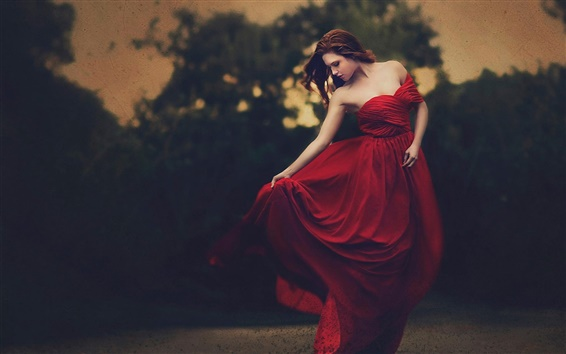 Wallpaper Beautiful red dress girl, dusk