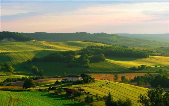 Wallpaper Beautiful scenery, fields, house, trees, sky