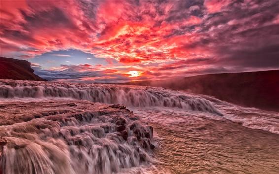 Обои Красивый закат, река, пороги, ручей, облака, свечение, красное небо