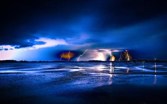 Wallpaper Blue night, lightning, sea