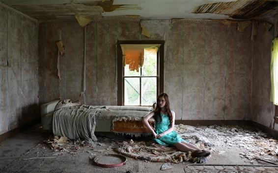 Fond d'écran Salle brisé, intérieur, bleu robe fille