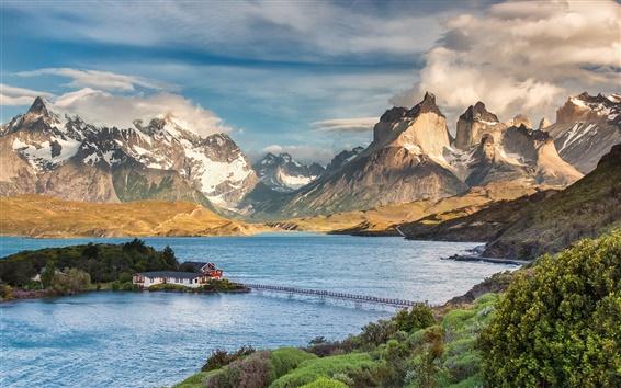 Papéis de Parede Do Chile, Patagônia, parque nacional, lago, casa, montanhas