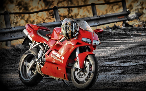 Wallpaper Ducati 748 red motorcycle