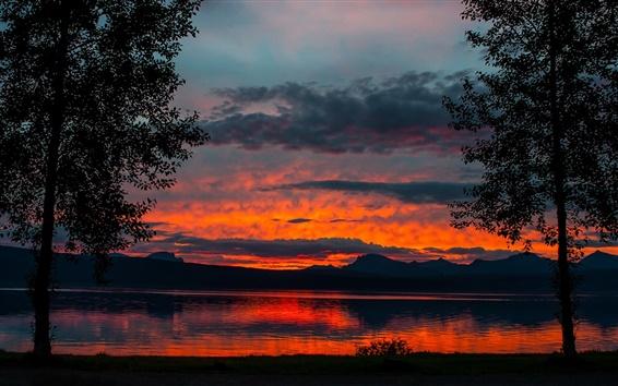 Обои Сумерки пейзаж, озеро, деревья, горы, закат, сумерки