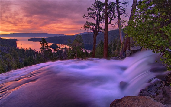 Wallpaper Dusk landscape, mountains, lake, trees, waterfall, sunset