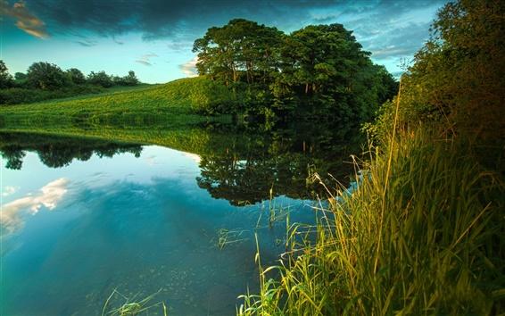 Wallpaper Dusk, nature, summer, river, grass, trees, clouds