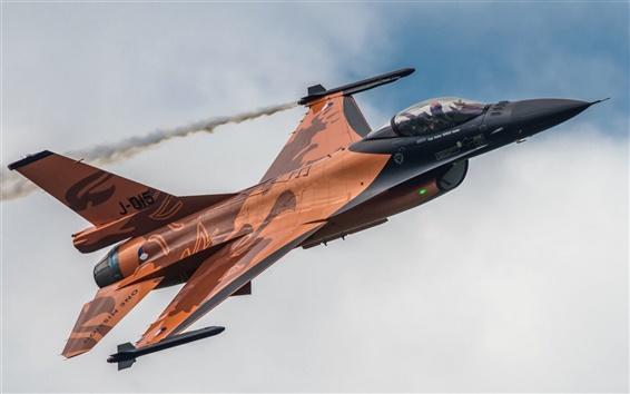 배경 화면 F-16AM 파이팅 팔콘, 전투기, 하늘