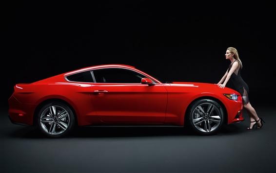 배경 화면 여자와 포드 머스탱 GT 빨간색 스포츠카