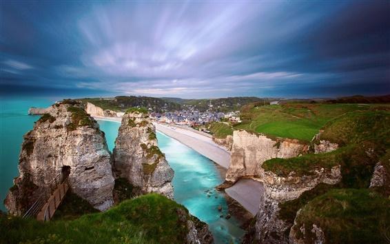 Fondos de pantalla Francia, Normandía, orilla, playa, mar, cielo, oscuridad, casa