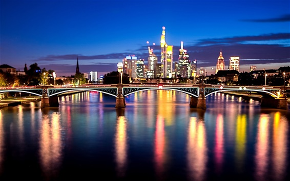 Wallpaper Frankfurt am Main, Germany, city, bridge, lights, river, night
