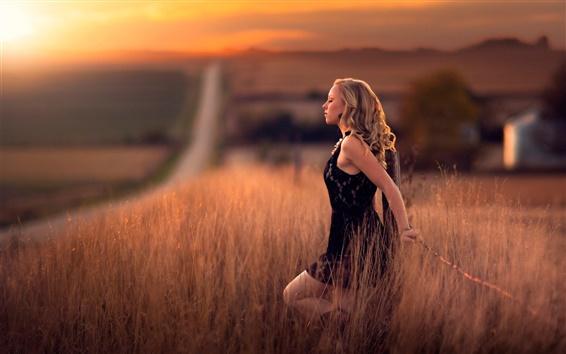 Wallpaper Girl in the fields, road, calm, dusk