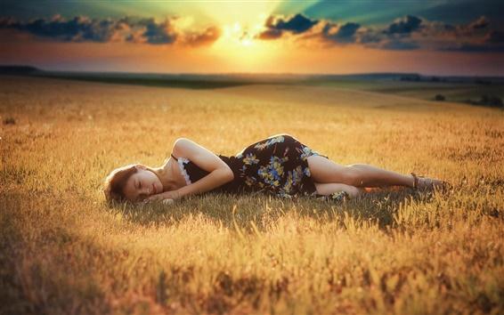 Wallpaper Girl sleep, grass, dusk, sunlight