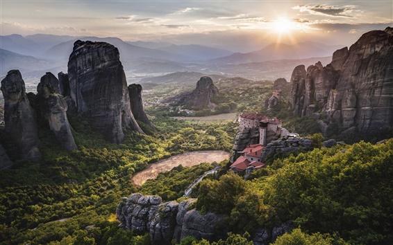 壁紙 ギリシャ、修道院、メテオラ、世界遺産、山、日の出