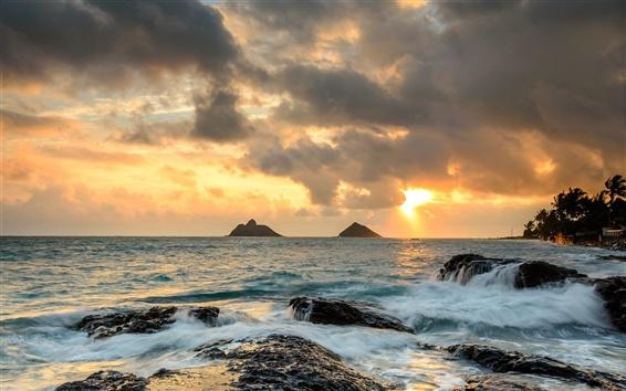 Wallpaper Hawaii, ocean, rocks, sunrise, waves