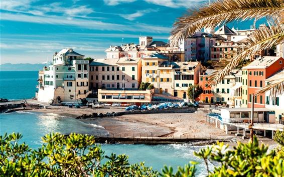 Fond d'écran Italie, Cinque Terre, sur la côte, la mer, les maisons, les arbres, quai, bateau