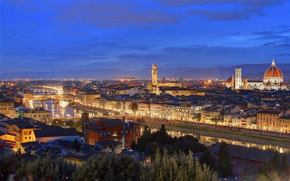 Wallpaper Italy, Tuscany, Florence, night, house, evening, dusk, lights
