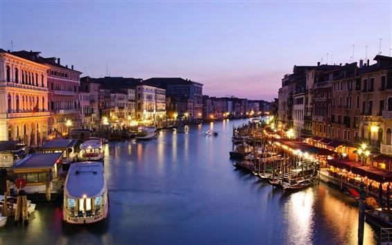 Wallpaper Italy, Venice, Canal Grande, evening, dusk, houses, sea, boats, lights