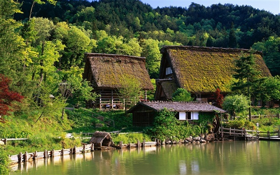 Wallpaper Japan, houses, farm, home, forest