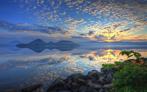 Wallpaper Lake Toya, Hokkaido, Japan, sunrise, clouds