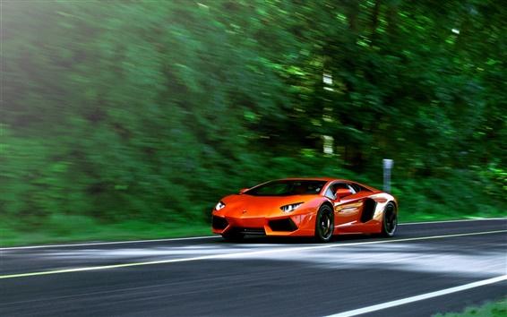 Fond d'écran Lamborghini Aventador LP700-4 supercar orange en route
