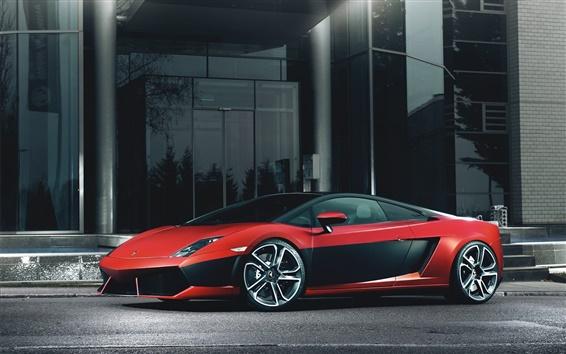 Обои Lamborghini Gallardo LP560-4 красный черный суперкар