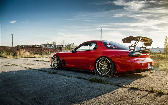 Papéis de Parede Mazda RX-6 Opinião lateral do carro vermelho na parte de trás