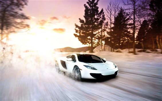 Wallpaper McLaren MP4-12C white supercar in snow winter