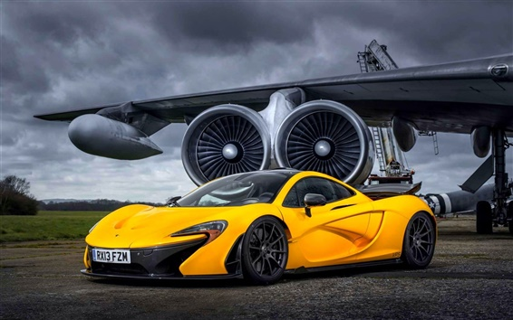 Wallpaper McLaren P1 Yellow supercar at airfield