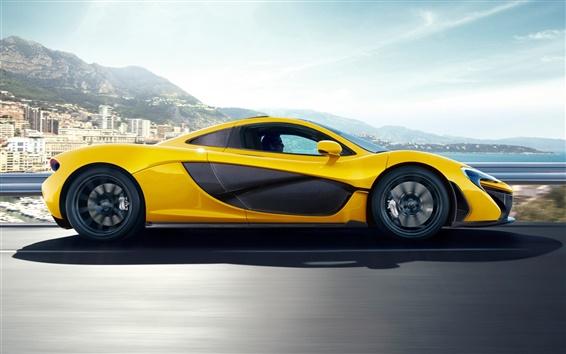 Wallpaper McLaren P1 yellow car side view