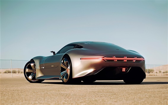 Wallpaper Mercedes-Benz AMG Vision Gran Turismo silver car back view
