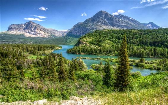 Fond d'écran Montana, États-Unis, parc, arbres, montagnes, rivière, nuages