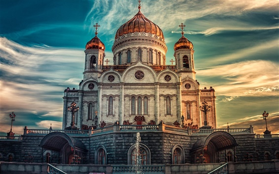 Wallpaper Moscow, Russia, Cathedral, sunset, sky, clouds