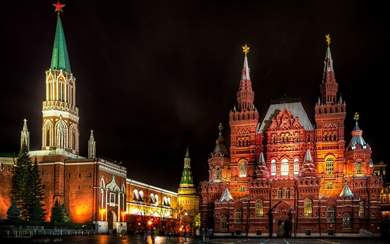Wallpaper Moscow, Russia, Red Square, State Historical Museum, night