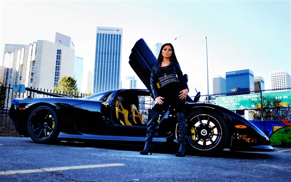 Fondos de pantalla Mosler Raptor GTR superdeportivo negro con la niña