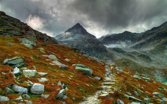 Wallpaper Mountain trail, mountains, rocks, grass, moss, clouds