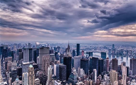 Fondos de pantalla Ciudad de Nueva York, EE.UU., Manhattan, rascacielos, edificios, casas, crepúsculo