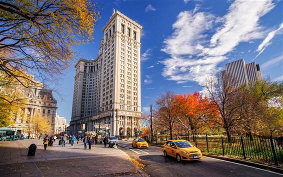 Wallpaper New York, Manhattan, USA, road, street, buildings, autumn, sky, clouds