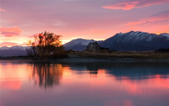 Wallpaper New Zealand, sunrise, house, lake, mountains, trees, red sky