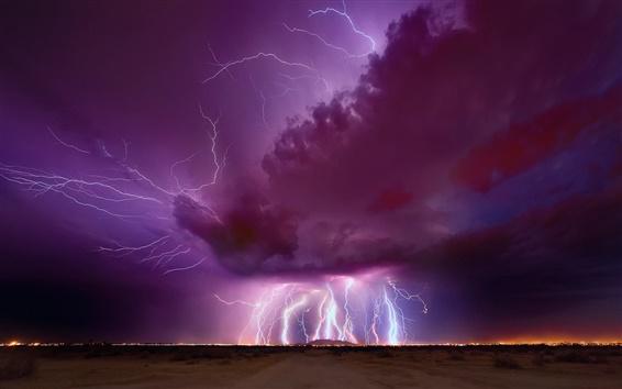 Обои Ночь, вечер, гром, молния, фиолетовый небо, облака, Аризона