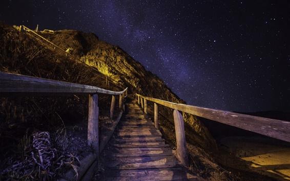 Wallpaper Night mountain, stairs, railings, stars